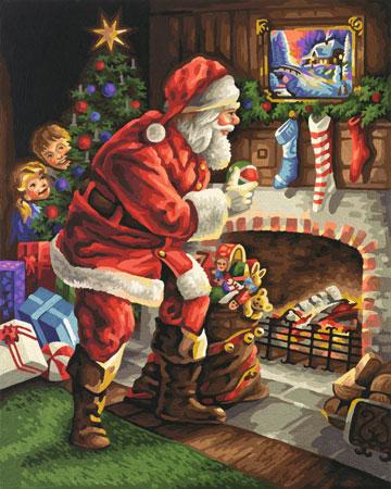 Malen nach Zahlen Bild Der Weihnachtsmann am Kamin - 609300696 von Schipper