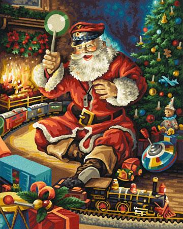 Malen nach Zahlen Bild Der Weihnachtsmann spielt Schaffner - 609300697 von Schipper