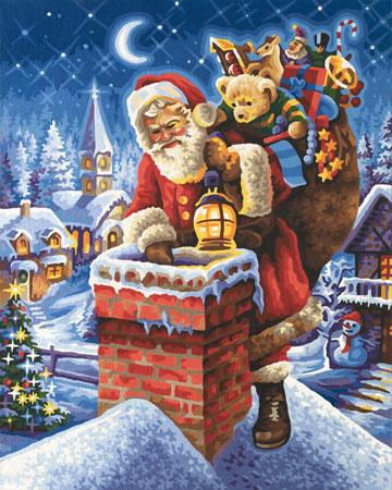 Der Weihnachtsmann auf dem Schornstein