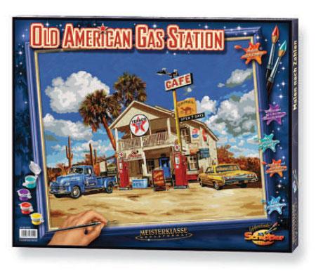 Malen nach Zahlen Bild Alte amerikanische Tankstelle - 609360600 von Schipper