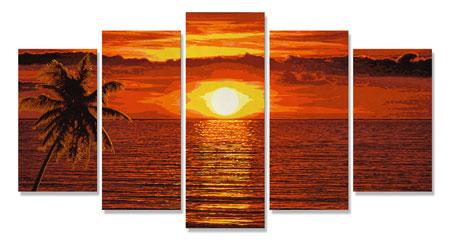 Malen nach Zahlen Bild Sonnenuntergang in der Karibik - Polyptychon - 609450728 von Schipper