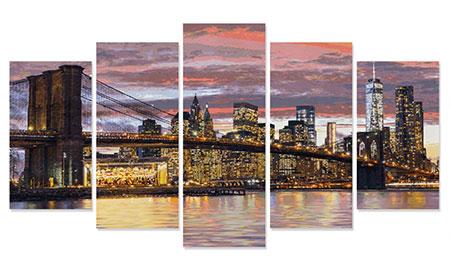 Malen nach Zahlen Bild New York in der Morgendämmerung - Polyptychon - 609450806 von Schipper