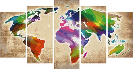 Malen nach Zahlen Bild Colorful World (Polyptychon) - 609450856 von Schipper