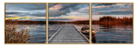 Malen nach Zahlen Bild Sonnenaufgang am See - Triptychon - 609470754 von Schipper