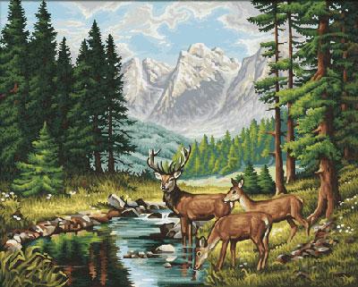 Malen nach Zahlen Bild Friedvolle Berglandschaft - 609130344 von Schipper