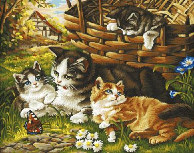 Malen nach Zahlen Bild Katzenfamilie - 609130361 von Schipper