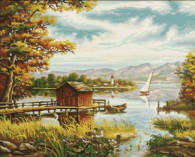Malen nach Zahlen Bild Am Seeufer - 609130377 von Schipper