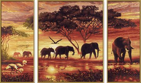Malen nach Zahlen Bild Elefanten Karawane - Triptychon - 609260455 von Schipper